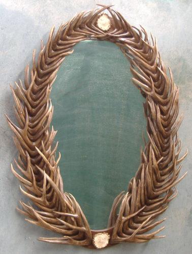 401 large oval antler mirror