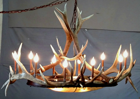 Mt Bross Antler Chandelier with Iron & Rawhide Dome Light, Oval Large | The  Peak Antler Lighting Co