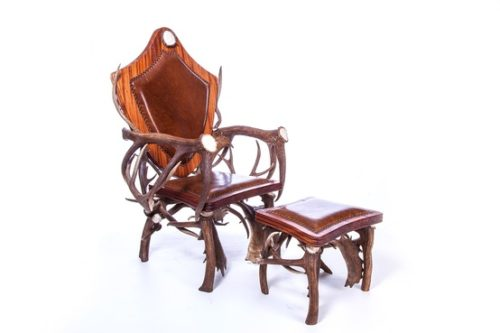 Attrayant Real Antler Chair And Ottoman, Western Furniture