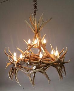 507-S elk antler chandelier haymen custom lighting