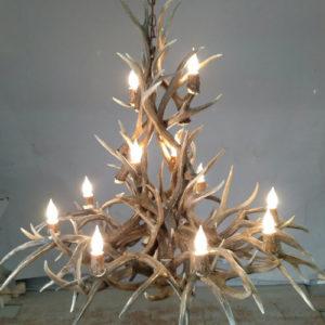 505-L ponderosa mule deer antler chandelier