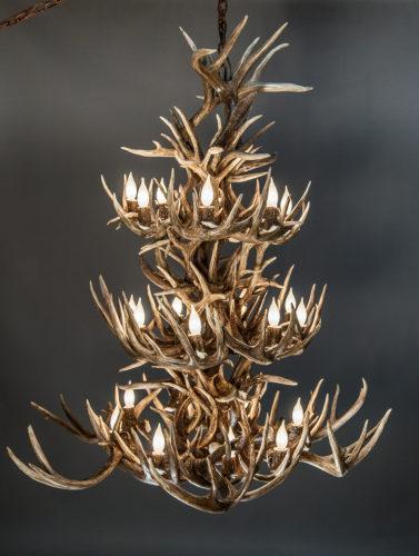 532-L white tail antler chandelier 3 tier whitetail deer antler chandelier
