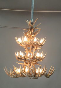 532-L white tail antler chandelier 3 tier Texas fancy interior design