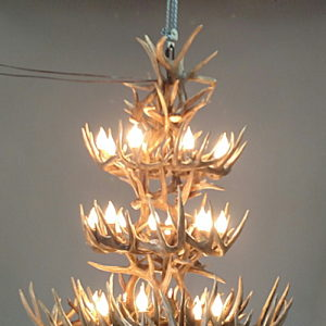 532-L white tail antler chandelier 3 tier