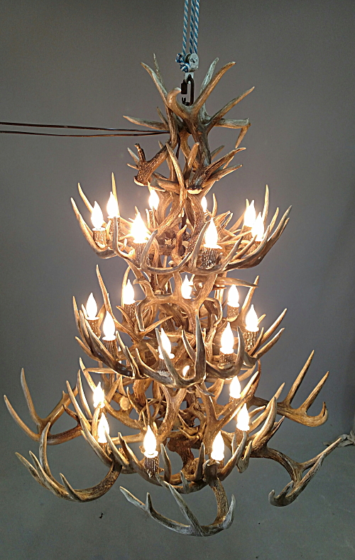 La Plata Peak Antler Chandelier 3 Tiers White Tail Deer