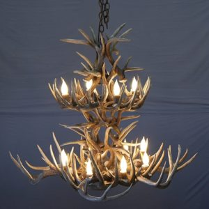 532-M white tail antler chandelier 2 tier