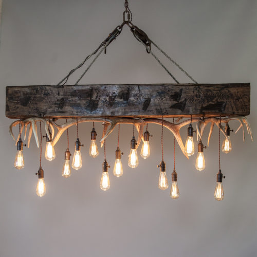 Timberline Falls Mountain Modern Chandelier Industrial Timber Antlers