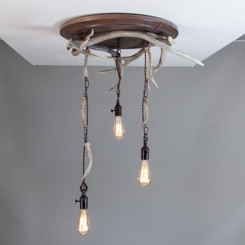 Big Creek Falls Flush Mount Antler Light Fixture