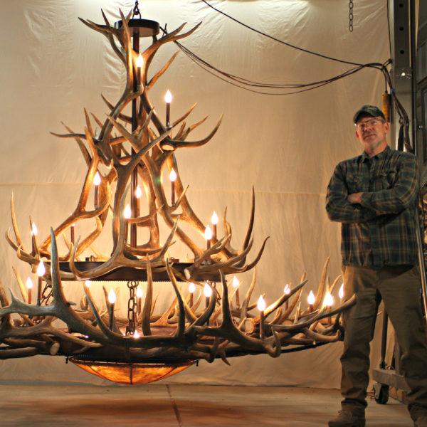 Extra large elk antler chandelier maker jeff musgrave extra large elk antler chandelier mt bross xxl 2 tier 12 sq aloadofball Image collections